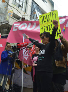 Mental health worker, Sandra Rawenata at last month's Equal Pay rally